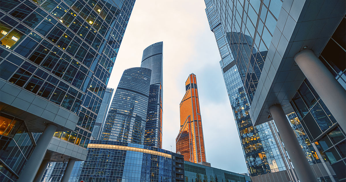 modern corporate buildings in Moscow International Business Center