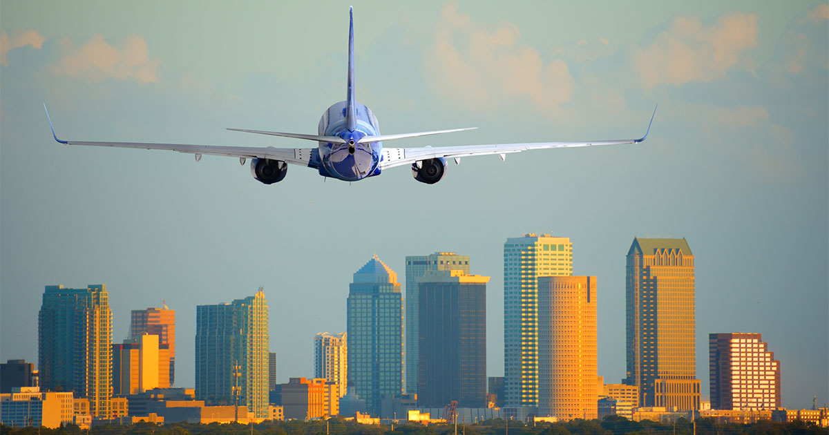Plane arriving or departing Tampa International Airport in Florida
