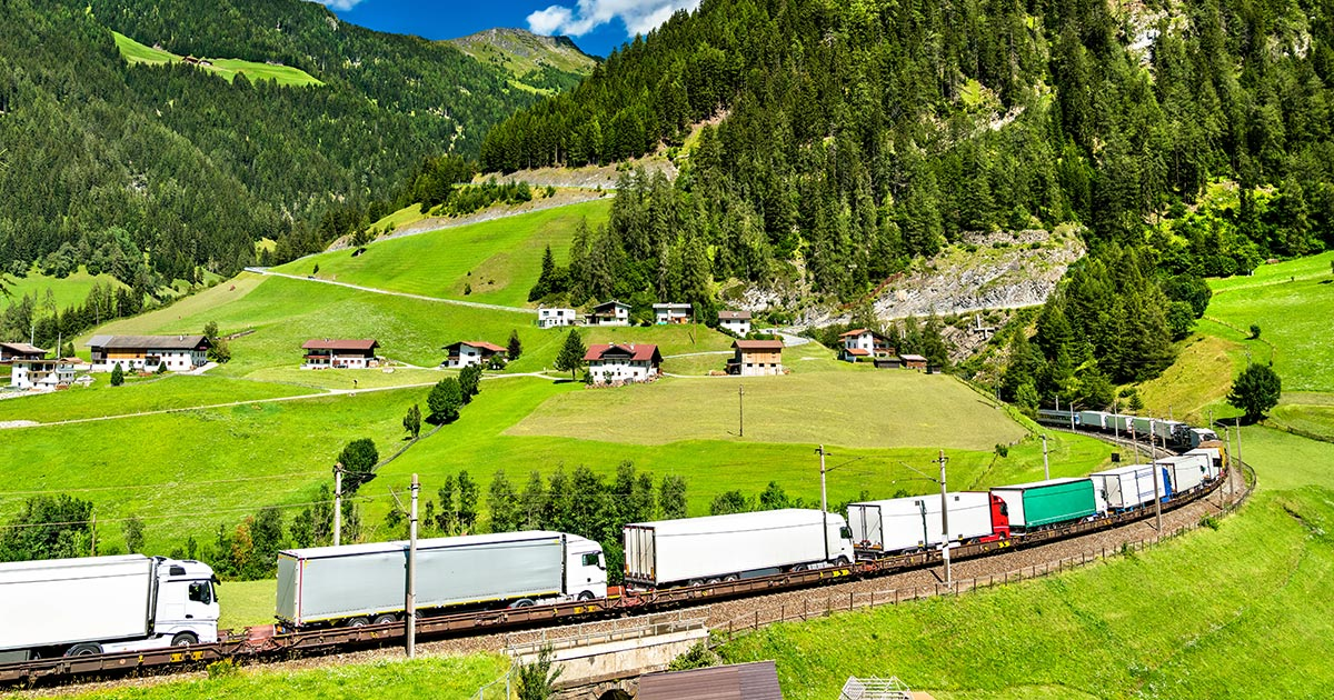 Train with trucks in Austria