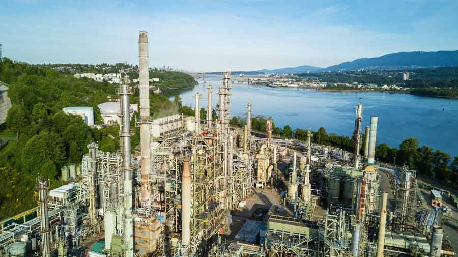 Aerial view of Oil Refinery Plant in Vancouver, British Columbia, Canada