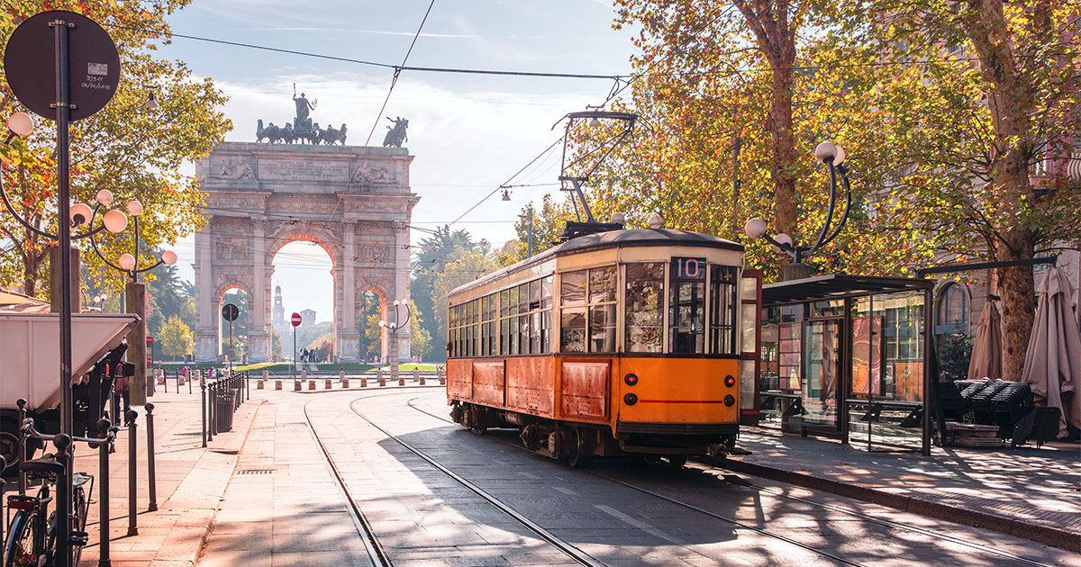 Vintage tram in the centre of the Old Town of Milan